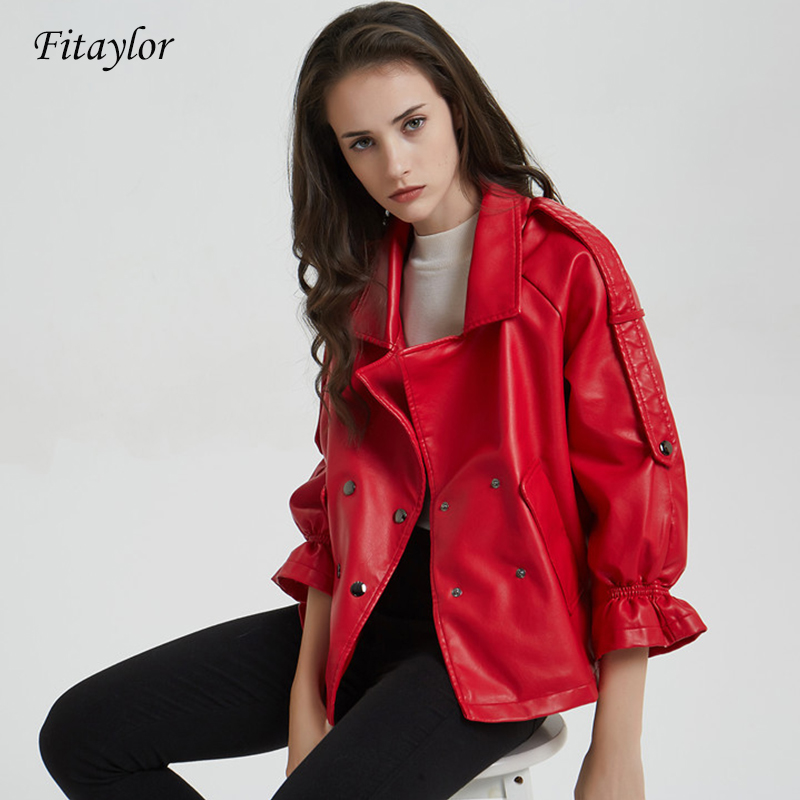 Fitaylor New Flare Sleeve Faux   Leather   Jacket Women Double Breasted Short Punk Style Jackets Female Bomber Basic Outwear