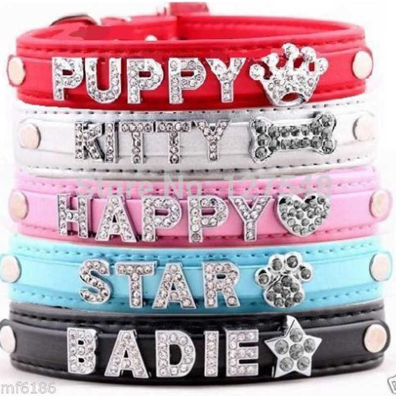 c6290f40bf DIY Name Dog Collars Leather Personalized Pet Cat Collars with 10MM  Rhinestone Letters Puppy Collar,Size XS,S,M,L