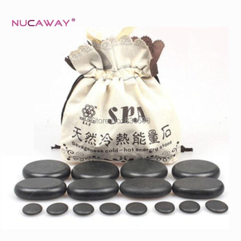 16pcs/set Volcanic stone massage therapy energy stone SPA Beauty Body Care Stone Set set in stone