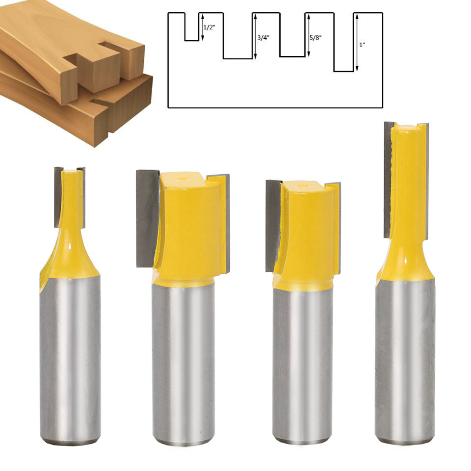 цена на 4pcs 1/2 Shank Extra long 20 Blade 1/2 Cutting Dia. Straight Router Bit Woodworking cutter Tenon Cutter for Woodworking