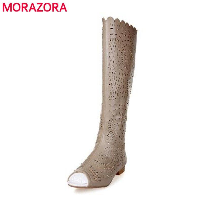 ФОТО MOrazora Womens sandals knee high women Summer boots sexy fashion sandal flat heels Ladies White kakhi gladiator boots