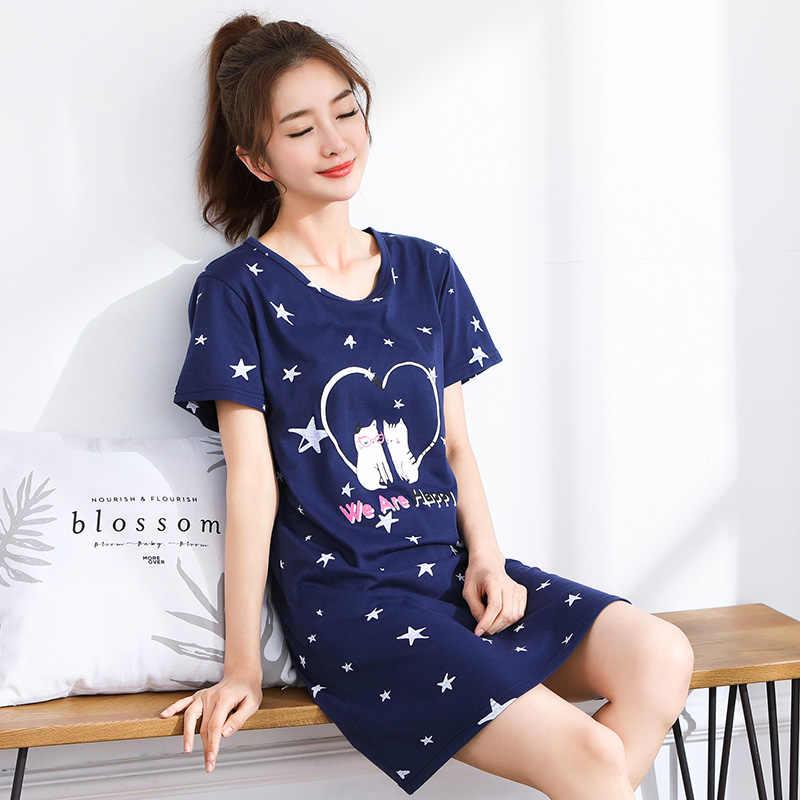 ... 35%100 % Cotton Nightgown Women Sweet Girl Lounge Cute Nightdress  Sleepwear Summer Home Dress ... 564fc52e8