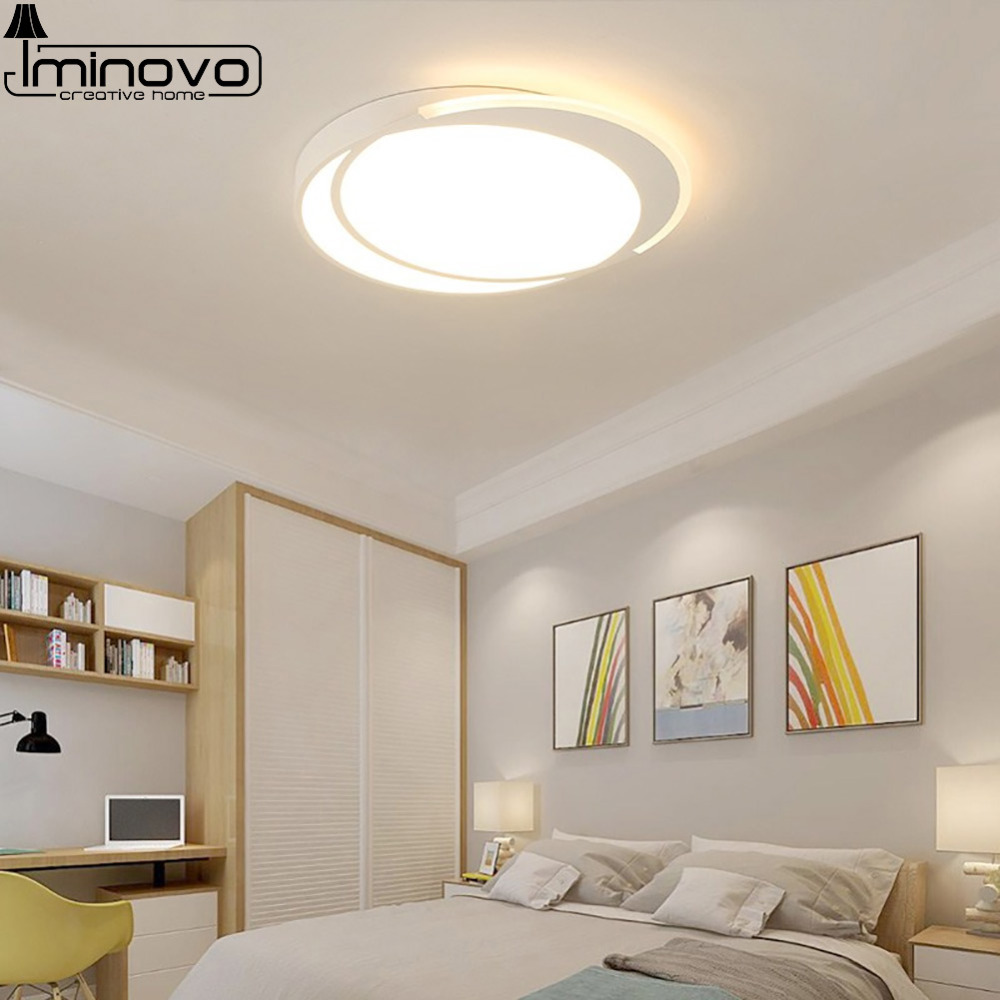 Modern LED Ceiling Light Round Lamp Panel Hall Surface Mount Flush Lighting Fixture Living Room Bedroom Remote Control black and white round lamp modern led light remote control dimmer ceiling lighting home fixtures