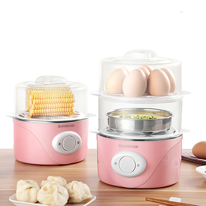 Chigo Home Multi Double-layer Mini Egg Boiler Mini Steamer Sterilization Automatic Power Off Mini Breakfast Machine Egg Custard bear multi egg boiler double layer timing automatic power off of large capacity mini steamer egg custard multi cooker