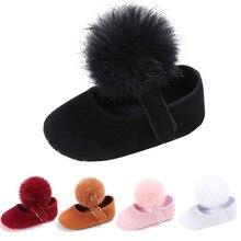Для малышей Обувь для девочек кроватки Мех животных мяч принцессы Повседневное новорожденных Для маленьких мальчиков первых шагов подошва против скольжения для 0- 18 м младенцев bttf