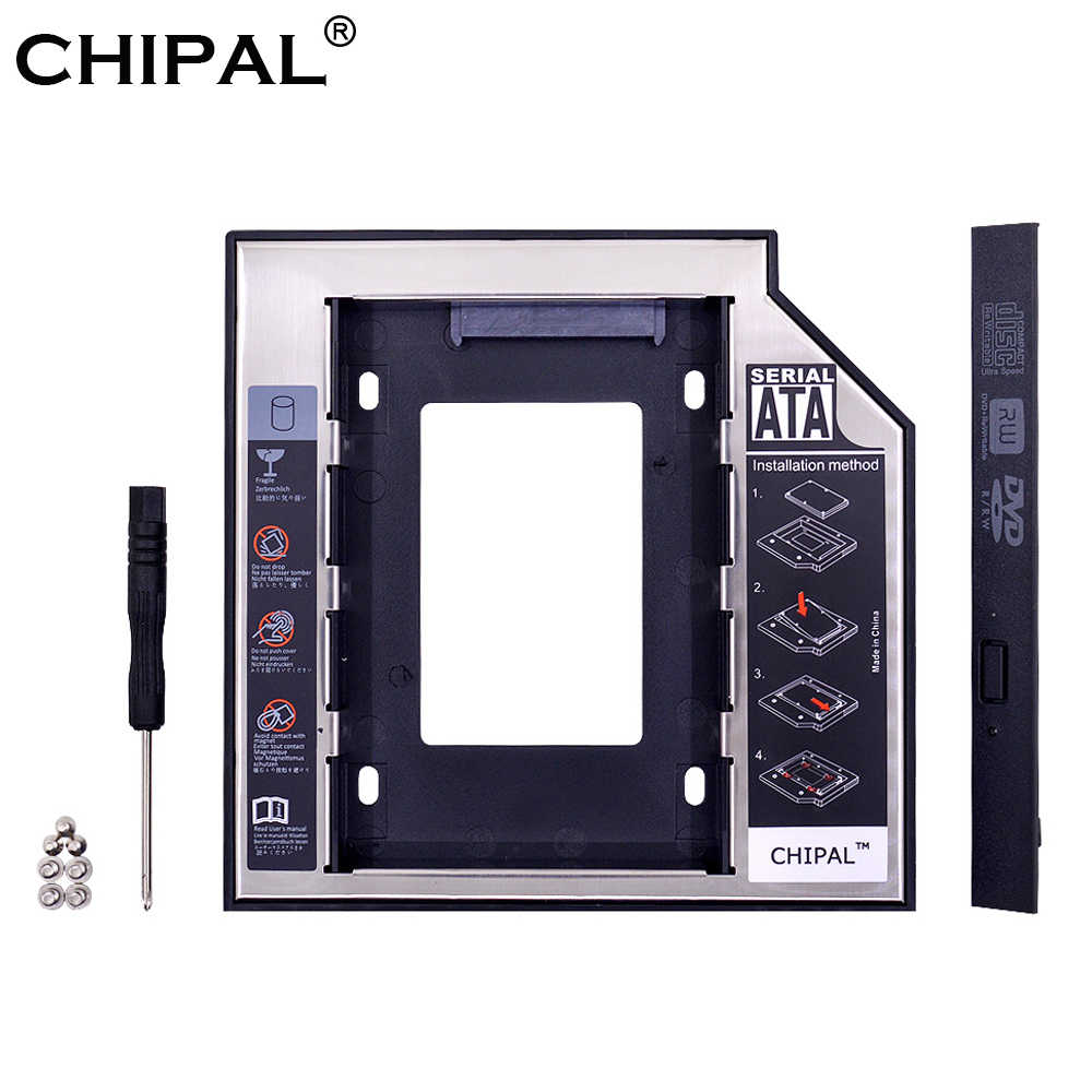 "Chipal Universal SATA 3.0 2nd HDD Caddy 12.7 Mm untuk 2.5 ""2 TB SSD HDD Case Kandang + LED indikator untuk Laptop CD-ROM DVD-ROM Aneh"