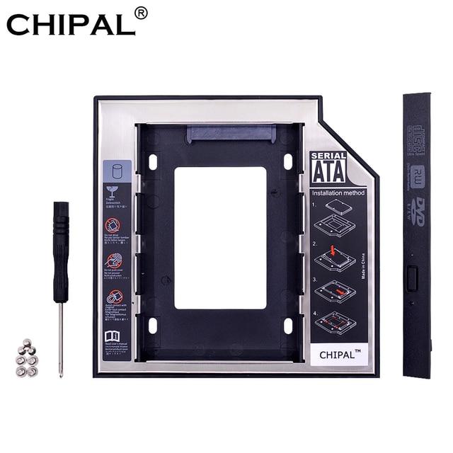 "CHIPAL Universal SATA 3,0 2nd HDD Caddy 12,7mm para 2,5 ""2 TB SSD HDD caja + LED indicador para portátil CD-ROM DVD-ROM ODD"