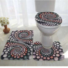 цена на Colorful Bathroom Rugs 3 pcs/set Closestool Seat Mat Toilet Seat Mat Anti Slip wc Mat 3D Effect Floor Mats Home Toilet Carpet
