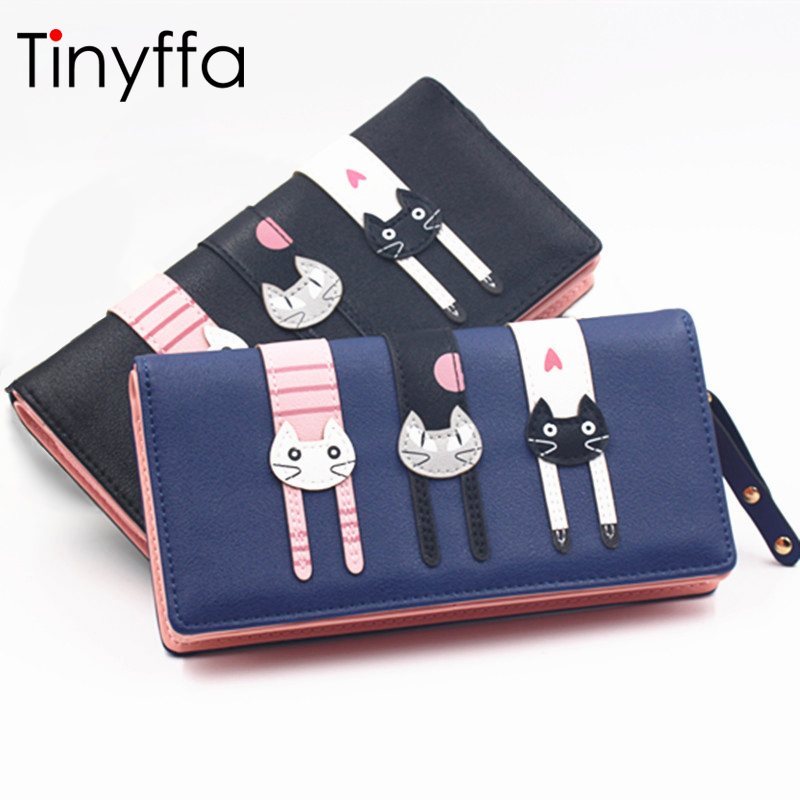Tinyffa Anime Wallet Women Black Wallets Purses Cute Cat Zipper Coin Purse Short Credit Card Holder Long Child Pussy Clutch Pink women long wallet cat zipper