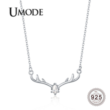 UMODE 2019 New Fashion 925 Sterling Silver Crystal Antlers Pendant Necklace for Women Link Chian Deer Silver 925 Jewelry ALN0467 ztung gop9 for us fashion ziron flowers pendant send with white and blue material 925 silver chian for women wonderful gift