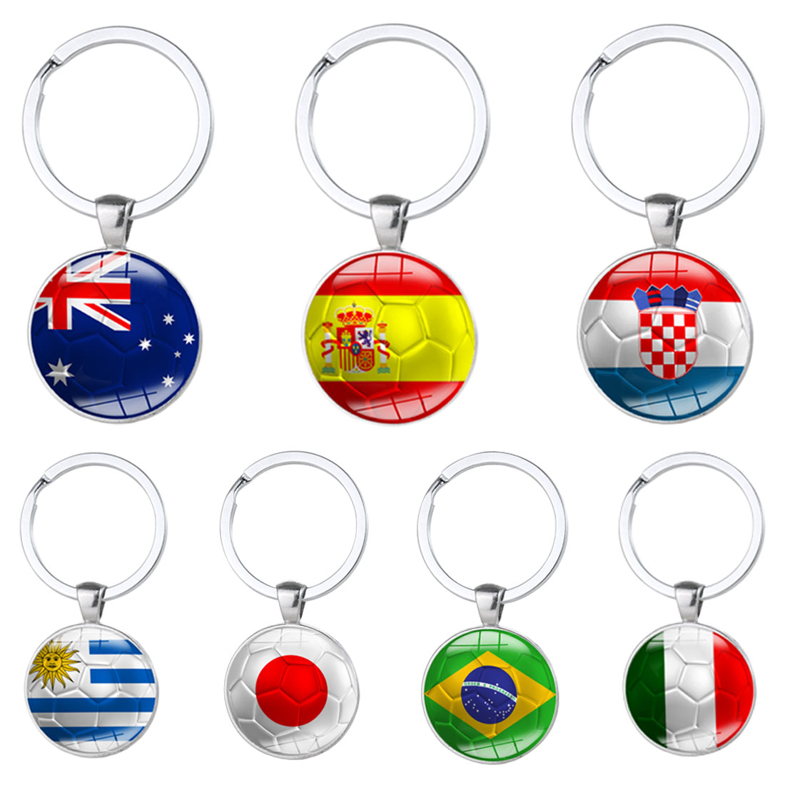 Football Keychains Key ring 32 Countries Peru Sweden Tunisia Senegal Soccer Key Chains S ...