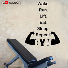 Wake Run Lift Eat Sleep Repeat GYM Quotes Vinyl Wall Sticker Fitness Decals Murals Interior Decoration Wallpaper Removable 3G10