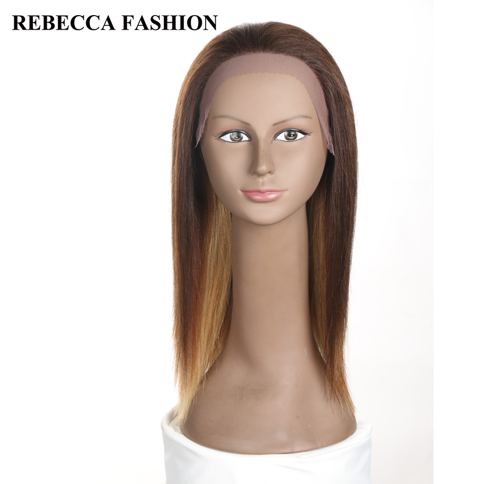 Rebecca Remy Medium Long Straight Lace Front Human Hair Wigs For Black Women Shoulder Length Brown Blonde U Part Wig