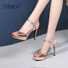 Summer Sandals 2019 Open Toe High Heels Sandals Women Platform Shoes Leopard Sandals Party Shoes 9.5cm цена в Москве и Питере