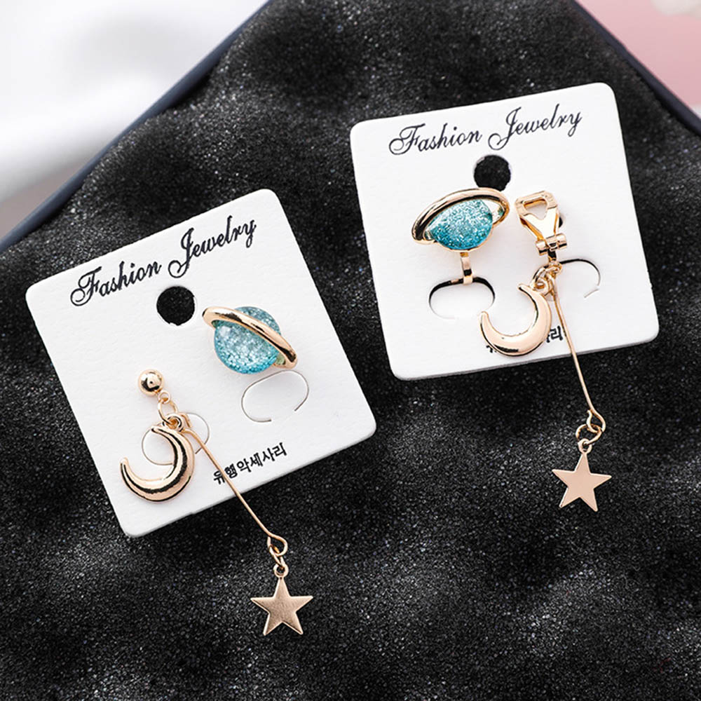 New Korean Charm Stars And Moon Clip On Earrings Without Piercing For Women Girl Fashion Asymmetric  Earring Luxury Jewelry
