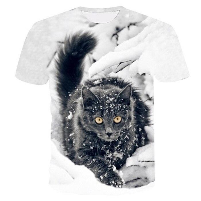 Новинка, футболка для мужчин/женщин, 3d принт, мяу, черный, белый, кот, хип-хоп, Мультяшные футболки, летние топы, футболки, модные 3d футболки, M-5XL - Цвет: txu-147