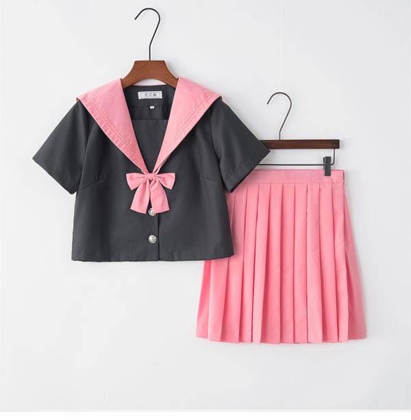 Pink British Preppy Style School Girls Uniform Cosplay Suits Chorus Performance Short Sleeve JK School Uniforms S-3XL