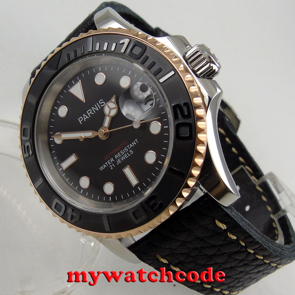 41mm Parnis black dial black leather strap Sapphire glass Ceramic bezel miyota automatic mens watch 42mm parnis black dial multifunction sapphire glass black leather strap 26 jewels miyota 9100 automatic mens watch