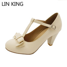 LIN KING New Spring Autumn Women Pumps Pointed Toe T-Strap Buckle Bowtie Sweet Lolita Shoes Thick Square Heel Plus Size