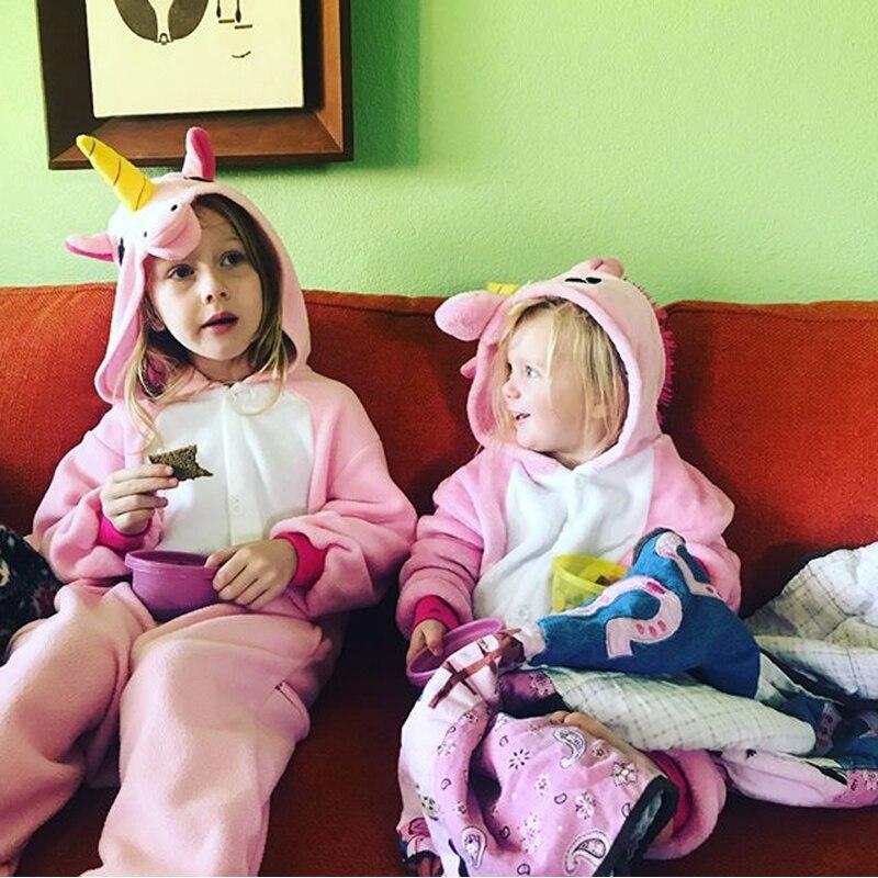Пижамы для мальчиков и девочек с единорогом кигуруми, фланелевые детские пижамы для косплея животных, комбинезоны, зимние детские пижамы, стежка, детская одежда для сна