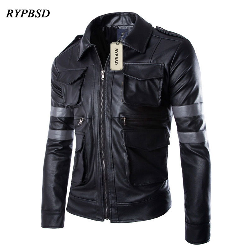 Size M-3XL 2017 New Top Resident Evil Hot-selling Three-dimensional Pockets Mens Leather Jacket Slim Fit Leather Coat Men Male m 3xl hot 2018 spring men s new fashion conventional models slim collar pu leather jacket