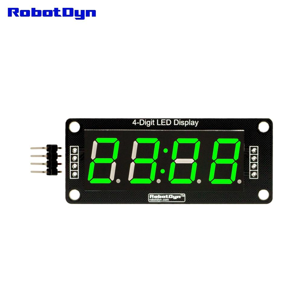 "LED de 4 dígitos 0,56 ""Display Tube GREEN (reloj, puntos dobles), 7 segmentos, TM1637, disp. Tamaño 50x19mm"