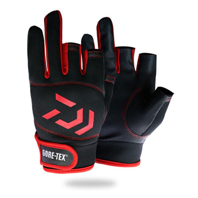 Drop Verschiffen 1 para DAIWA Anti-Slip 3 Finger Cut Angeln Handschuhe Wasserdichte Leder PU Angeln Handschuhe Jagd Handschuhe