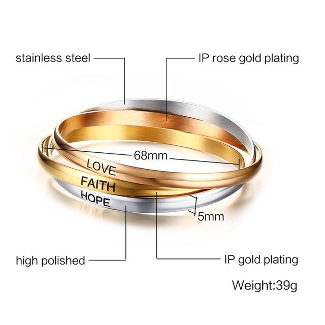 894e7d96eb65b Three Colors Cuff Bangle Bracelets for Women Stainless Steel Love ...