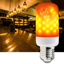 E26 LED Flame Bulb E27 Led Dynamic Flame Lamp Led E14 Emulation Flickering Fire Light 2835 Fire Effect Bulb 85V-265V For Party(China)