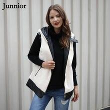 Las mujeres de invierno prendas de moda blanco suave casuales de cuero  negro con capucha Top chaleco sin mangas cremallera Casua. 5c87c3f4a621