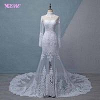 YQLNNE 2018 White Lace Full Sleeve Wedding Dress Mermaid High Neck Appliques Zipper Back Sweep Train Bridal Gown