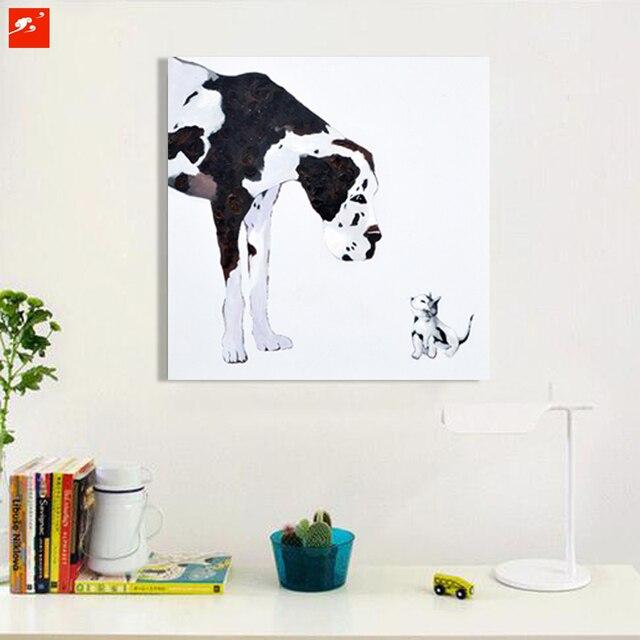 Hitam Dan Putih Modern Kartun Anjing Dan Kucing Dinding Gambar