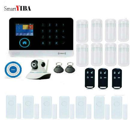 SmartYIBA APP Control Intelligent GSM Alarm System WIFI Wireless Alarmes Control IP Camera Blue Flash Siren Motion Alarm Kits