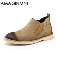 AMAGINMNI Brand Hot Newest Keep Warm Men Winter Boots High Quality Leather Wear Resisting Casual Shoes