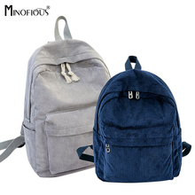 MINOFIOUS Women Corduroy School Bags for Girls Soft Fabric B