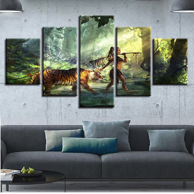 US $5 95 40% OFF|Canvas HD Prints Painting Wall Art Frame 5 Pieces Native  American Indian Woman Poster Forest Tiger Pictures Modular Home Decor-in
