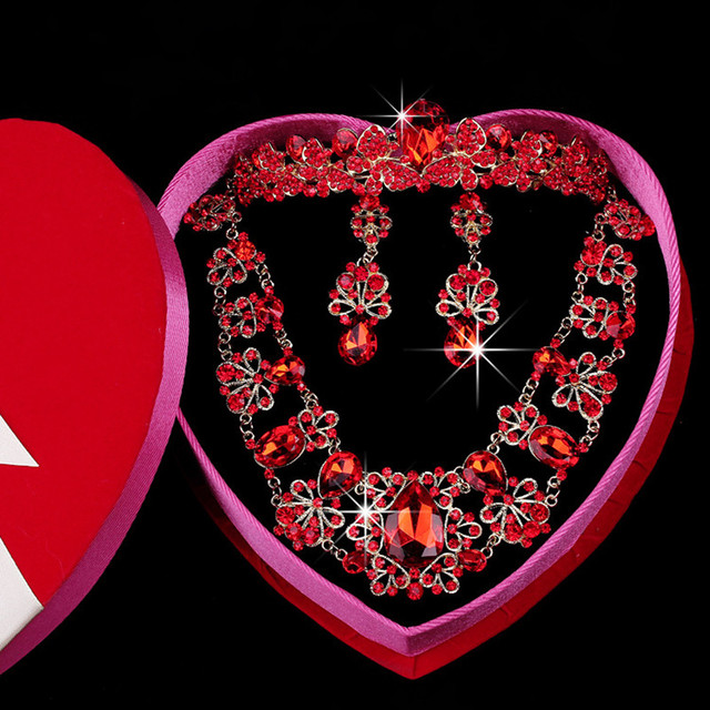 Shine Vintage Chinese Turkish Style Jewelry Sets For Bridal Wedding Earrings Necklace And Crown Full Red Crystal Jewelry Sets
