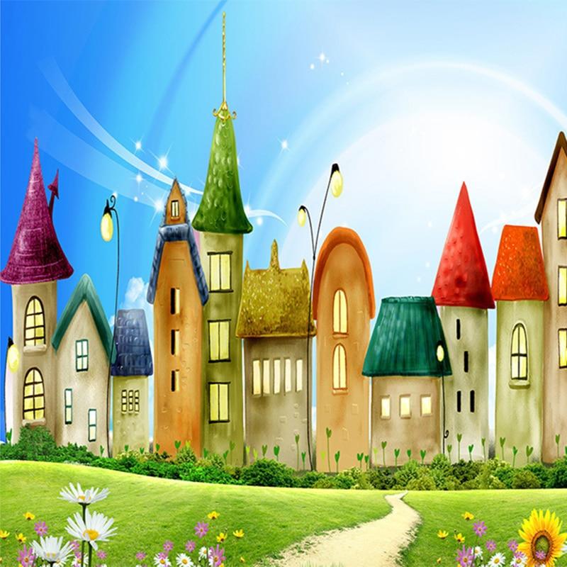 858 49 De Descuentopersonalizado Mural Wallpaper Roll 3d En Relieve No Tejida De Dibujos Animados Casa Color Brillante Mural Niños Papel De