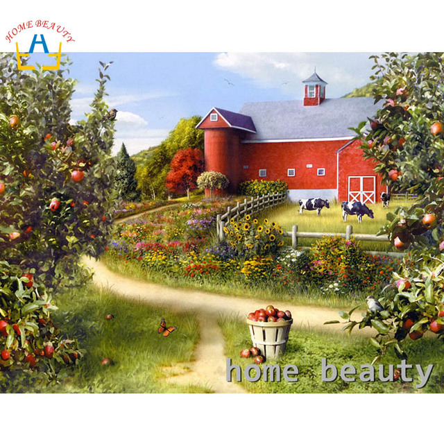 5d diy diamond embroidery kits countryside wall decor painting ...