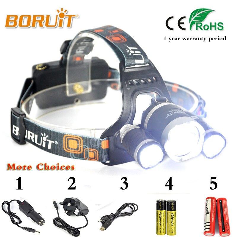 BORUIT Headlamp XML L2+2R5 LED 6000Lm Headlight Flashlight Lanterna Bike Front Head Torch Lamp 18650 Battery For Hunting Fishing