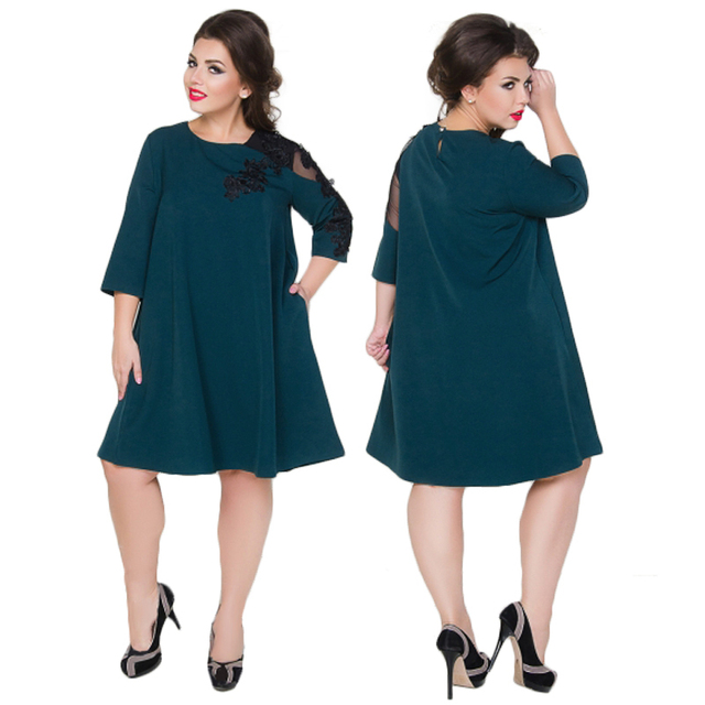 648f276795 US $12.99 48% OFF|2018 Ukraine loose summer dress for women lace party  dress plus size women clothing large casual dress 5XL 6XL vestidos-in  Dresses ...