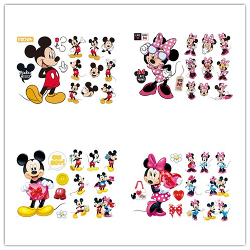 New Cartoon Mickey Minnie Mouse baby home decals wall stickers for kids room baby bedroom wall art nursery removable DIY poster(China)