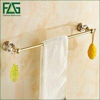 FLG All Copper Gold Crystal Towel Rack, Bathroom Towel Racks, Single Golden Towel Bar, Towel Rail