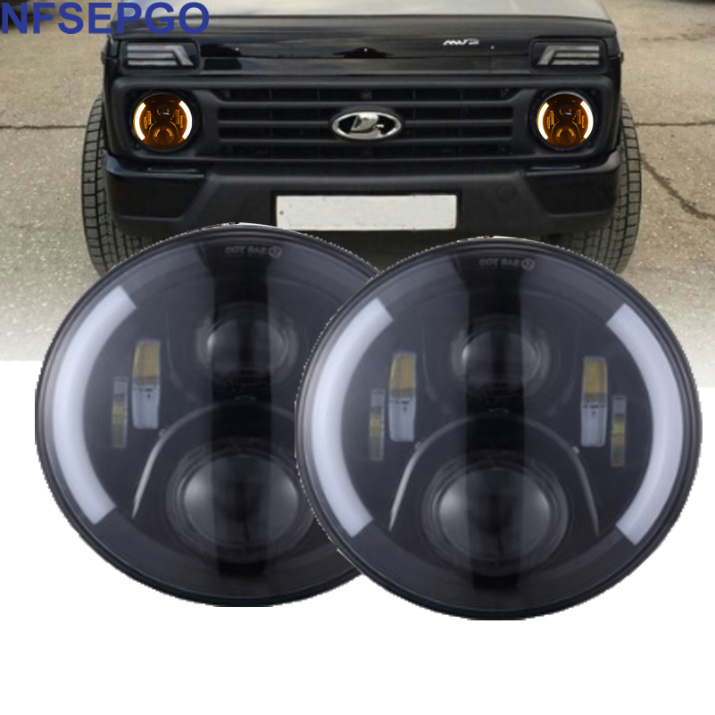 2xFor Lada Car Light 7 Inch H4 LED Headlights with DRL Halo Front headlight Niva for