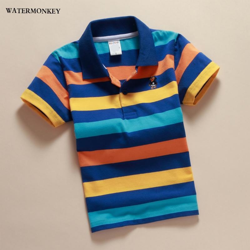 2018 мальчиков полосатые летние рубашки поло Марка хлопок короткий рукав отложной воротник на пуговицах спортивные футболки Одежда для маль... ...