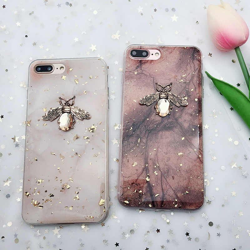 Luxury Glitter Gold Foil Marble Cases For iPhone 11Pro X XS XR Max Bling 3D Metal Bee Stand Soft TPU Case For iPhone 7 8 6S Plus