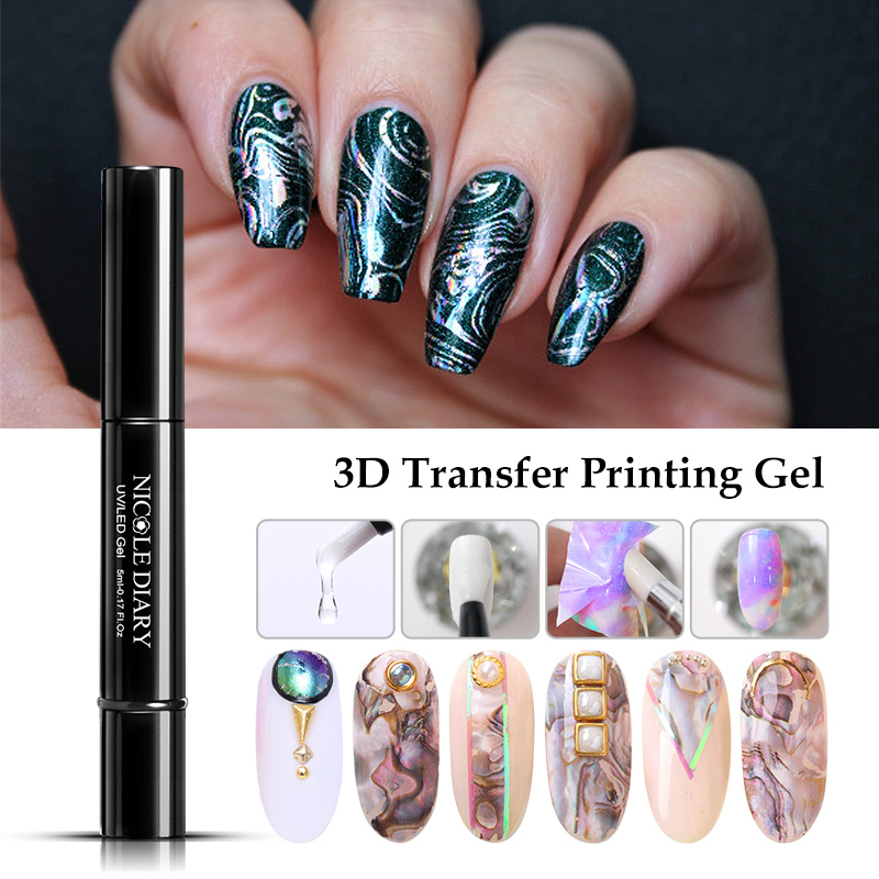 NICOLE DIARY Nail Foil Adhesive Transfer Gel Glue Holograph Sticker Polish Set 10ml Free sparkly Paper Print Foils Wraps Decals