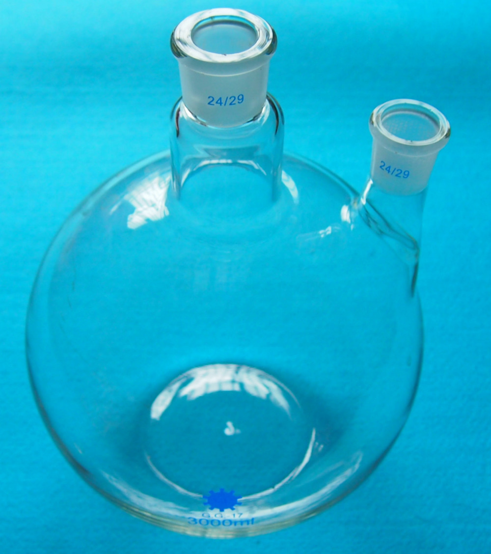 3000ml 24 29 2 Neck Flat Bottom Glass Flask 3L Twins Necks Lab Chemical Bottle