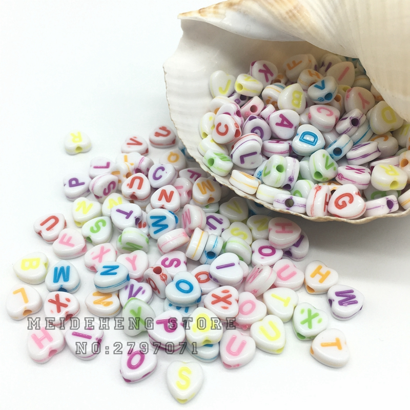 Meideheng Love letters bead Spacer Beads For Jewelry Making color mezclado Niños DIY pulsera Protección del medio ambiente 350pcs
