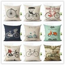 45×45 New Home Decor Cushion Cover Fashion Riding A Bicycle Home Decorative Printed Throw Pillowcase Cojines Almofada